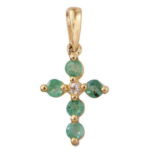 Kagem Zambian Emerald (Rnd), White Topaz Cross Pendant in 14K Gold Overlay Sterling Silver