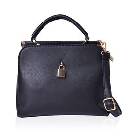 Black Colour Crossbody Bag with Lock Design Closure and Adjustable and Removable Shoulder Strap (Size 25.5X22X12.5 Cm)