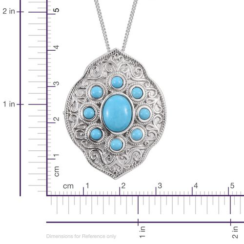 Royal Jaipur Arizona Sleeping Beauty Turquoise (Ovl 1.90 Ct), Burmese Ruby Pendant With Chain in Platinum Overlay Sterling Silver 3.020 Ct.