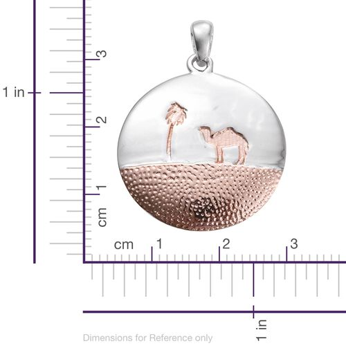 New Concept- Landscape Hand Textured Camel Pendant in Platinum and Rose Gold Overlay Sterling Silver, Silver wt 3.81 Gms.