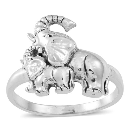 Thai Sterling Silver Elephant with Calf Ring, Silver wt 5.29 Gms.