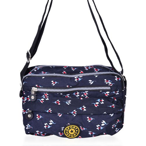 Navy and Multi Colour Floral Pattern Multi Pocket Waterproof Crossbody Bag with Adjustable Shoulder Strap (Size 25X17X8 Cm)