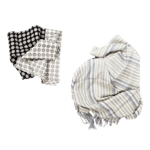 Set of 2 - Grey and White Colour Dots Pattern Black Colour Scarf (Size 180x50 Cm) and Cream, Blue and Multi Colour Stripe Pattern Scarf with Fringes (Size 180x70 Cm)