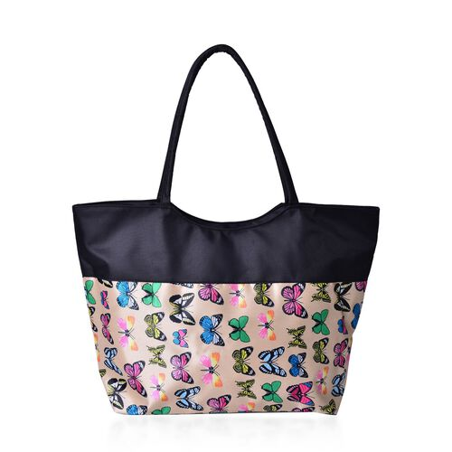 Black, Beige and Multi Colour Butterfly Pattern Tote Bag (Size 52X38X32X15.5 Cm)
