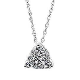 New York Close Out - 14K White Gold AGI Certified Diamond (I1/ G-H) (Rnd) Pendant With Chain 0.250 Ct.