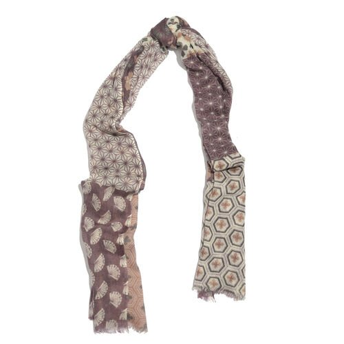 100% Merino Wool Purple, Off White and Multi Colour Honeycomb Pattern Scarf with Fringes (Size 170X70 Cm)
