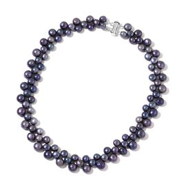 Fresh Water Peacock Pearl Necklace (Size 16) in Rhodium Plated Sterling Silver