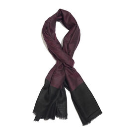 100% Cashmere Wool Purple and Black Colour Scarf with Fringes (Size 200X70 Cm)