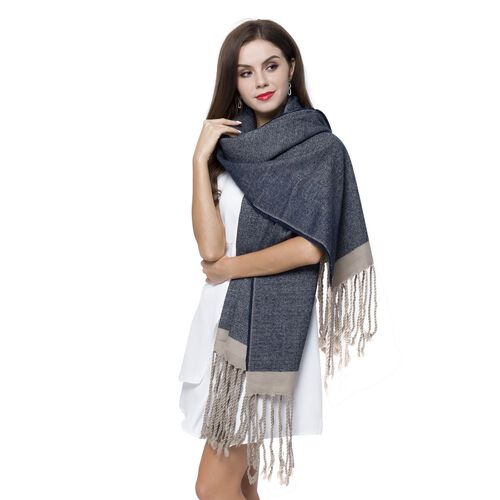 Italian Designer Inspired-Navy and Grey Colour Scarf with Tassels (Size 190X70 Cm)