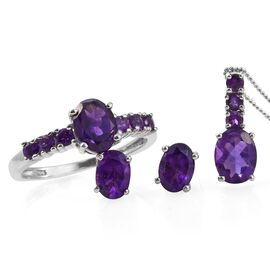 Lusaka Amethyst (Ovl) Ring, Stud Earrings (with Push Back) and Pendant with Chain in Platinum Overlay Sterling Silver 4.500 Ct.