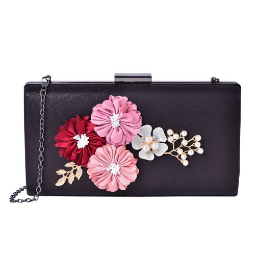 Simulated Pearl, White Austrian Crystals and Flowers Embellished Black Colour Clutch with Chain Strap (Size 21.5X11.5X4 Cm) in Black Tone