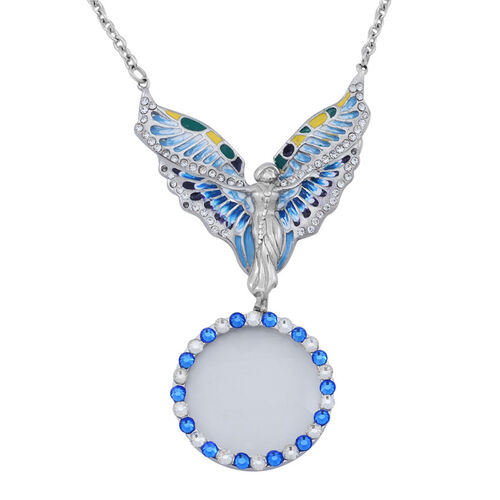 White and Blue Austrian Crystal Magnifying Glass Angel Necklace (Size 20) in Stainless Steel