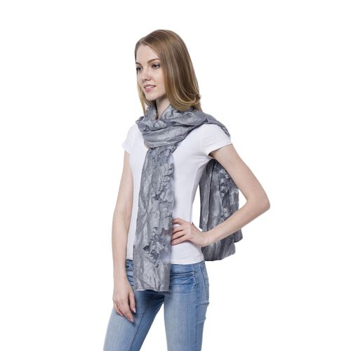 Limited Available - Designer Inspired - Grey Colour Scarf (Size 185x65 Cm)