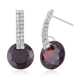 AAA Simulated Garnet and White Austrian Crystal Earrings (with Push Back) in Silver Plating