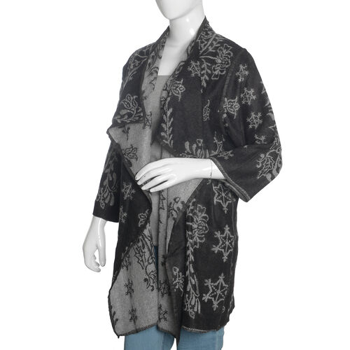Designer Inspired - Black and Grey Colour Floral Pattern Knitted Jacket (Size 85X55 Cm)