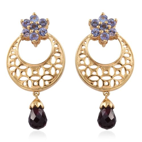 GP Rhodolite Garnet, Tanzanite and Kanchanaburi Blue Sapphire Earrings (with Push Back) in 14K Gold Overlay Sterling Silver 4.500 Ct.