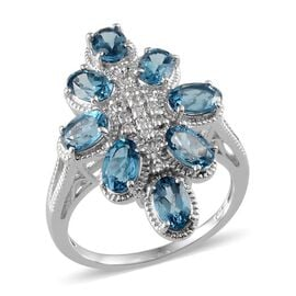 Electric Swiss Blue Topaz (Ovl), White Topaz Ring in Platinum Overlay Sterling Silver 3.650 Ct.