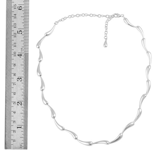 LucyQ Ripple Collection Necklace (Size 16 with 4 inch Extender) in Rhodium Plated Sterling Silver 27.11 Gms.