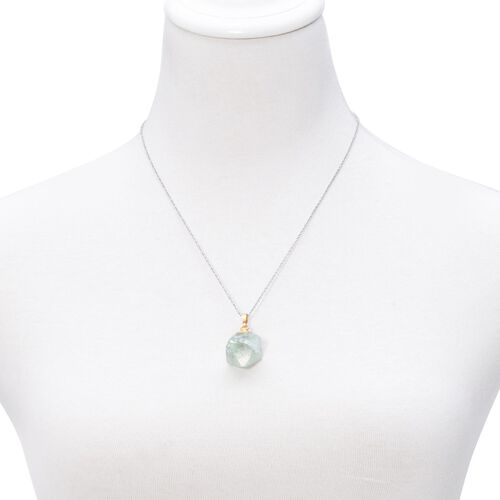 Green Fluorite Pendant in Gold Tone with Stainless Steel Chain 50.000 Ct.