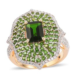 Limited Edition- GP Russian Diopside (Very Rare Size Oct 8X6 mm1.75 Ct), Natural White Cambodian Zircon and Blue Sapphire Ring in Yellow Gold Overlay Sterling Silver 3.830 Ct. No. of Gemstone 179