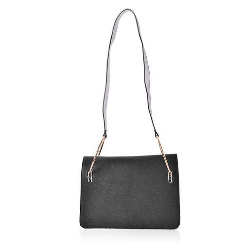Black Colour Shoulder Bag with Metallic Hoop Attached Shoulder Strap (Size 27X19X8 Cm)