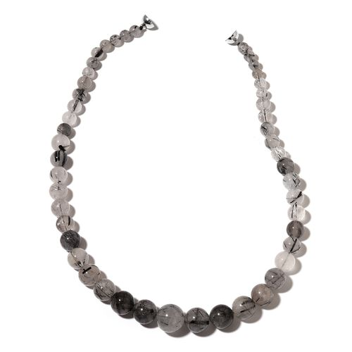 Black Rutile Quartz Ball Necklace (Size 20) with Magnetic Clasp in Rhodium Plated Sterling Silver 441.000 Ct.