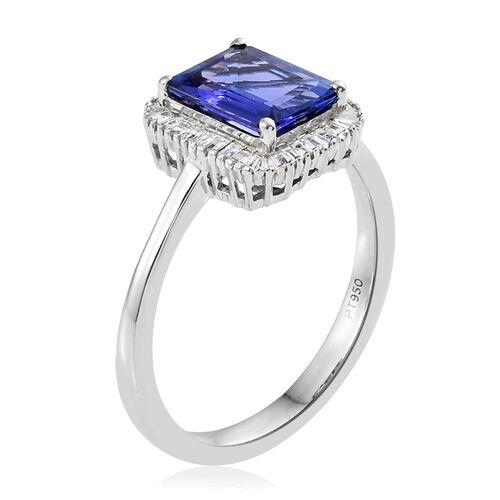 Rhapsody AAAA Tanzanite (2.25 Ct) and Diamond 950 Platinum Ring  2.500  Ct.