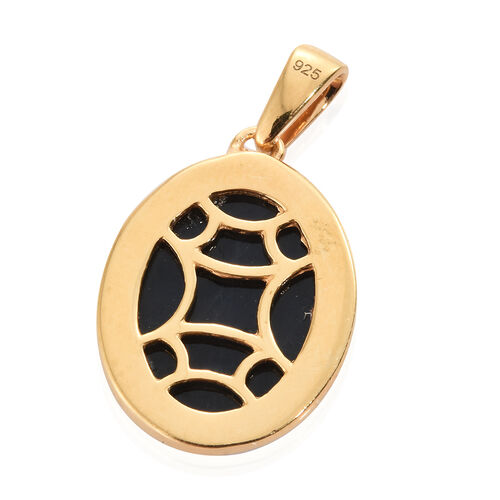 Natural Spectrolite (Ovl) Solitaire Pendant in 14K Gold Overlay Sterling Silver 4.750 Ct.