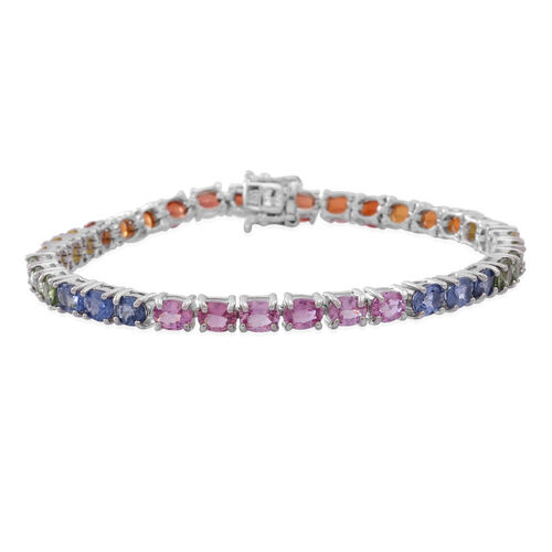 Madagascar Blue Sapphire (Ovl), Yellow Sapphire, Green Sapphire, Orange Sapphire, Red Sapphire and Pink Sapphire Tennis Bracelet (Size 7.5) in Rhodium Plated Sterling Silver 16.000 Ct.