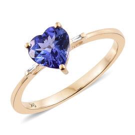 9K Yellow Gold 1.30 Ct AA Tanzanite Heart Ring with Diamond