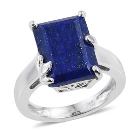 Lapis Lazuli (Oct) Solitaire Ring in ION Plated Platinum Bond 7.000 Ct.