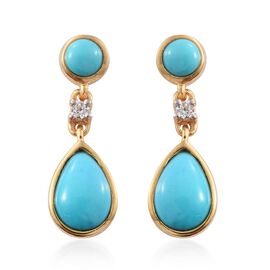 Arizona Sleeping Beauty Turquoise (Pear), Natural Cambodian Zircon Earrings (with Push Back) in 14K Gold Overlay Sterling Silver 2.500 Ct.