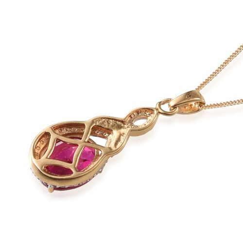 Simulated Ruby (Ovl) Solitaire Pendant With Chain in 14K Gold Overlay Sterling Silver 2.500 Ct.