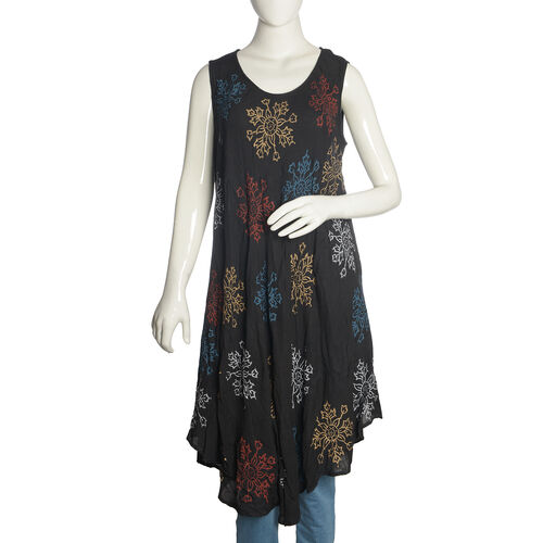 Black, Navy and Multi Colour Floral Printed Tunic (Free Size)