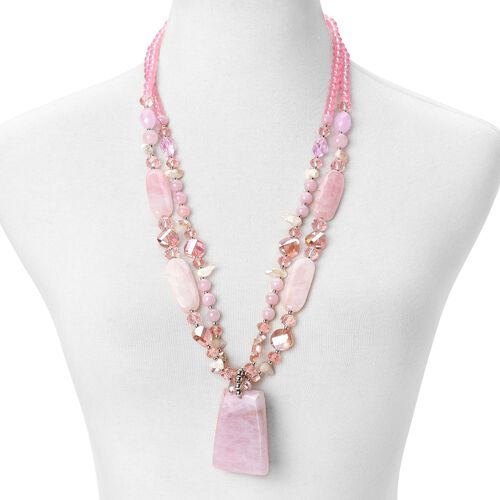 Rose Quartz, Simulated Pink Sapphire and White Shell Dual Strand Beads Necklace (Size 29) in Silver Tone 680.00 Ct.