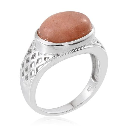 Morogoro Peach Sunstone (Ovl) Solitaire Ring in Rhodium Plated Sterling Silver 6.000 Ct.