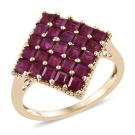 Designer Inspired-9K Yellow Gold AAA Burmese Ruby (Princess) Ring 3.750 Ct.