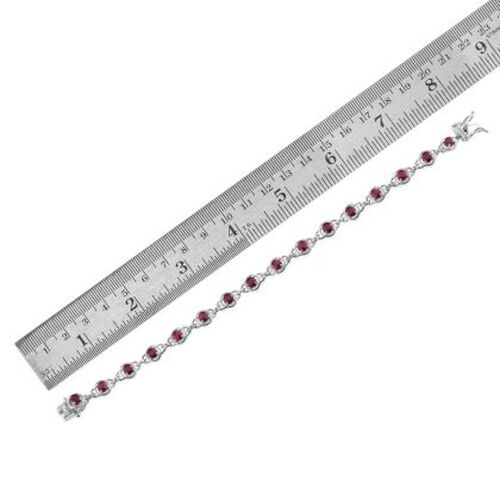 WEBEX-African Ruby (Rnd) Bracelet (Size 7.5) in Platinum Overlay Sterling Silver 4.750 Ct.