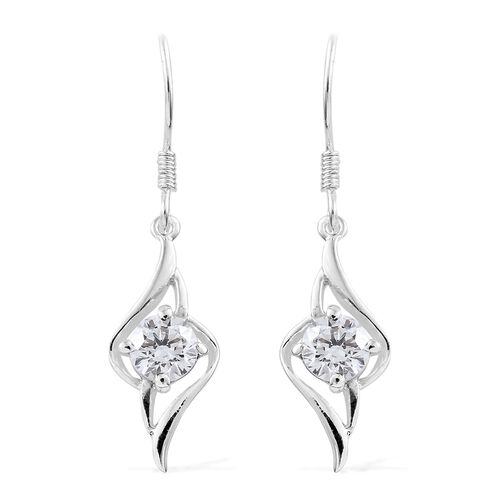 J Francis - Sterling Silver (Rnd) Hook Earrings Made with SWAROVSKI ZIRCONIA