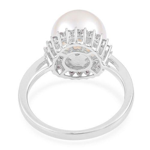 ILIANA 18K Yellow Gold Rare AAAA South Sea White Pearl (Rnd 10-10.5mm) Halo Ring with Diamond SI G-H