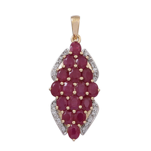 9K Y Gold Burmese Ruby (Ovl), Natural Cambodian White Zircon Pendant 4.040 Ct.