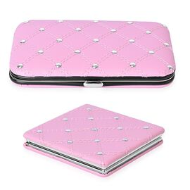 Pink Colour 5 Tools Containing Manicure Kit (Size 12X7 Cm) and Mirror (Size 14.5X7 Cm) in Stainless Steel