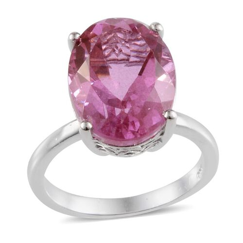 Kunzite Colour Quartz (Ovl) Solitaire Ring in Platinum Overlay Sterling Silver 10.500 Ct.