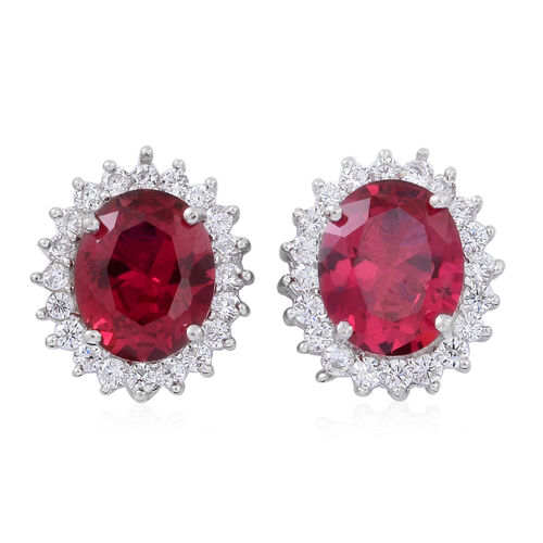 ELANZA AAA Simulated Rubellite (Ovl), Simulated White Diamond Pendant and Stud Earrings (with Push Back) in Rhodium Plated Sterling Silver
