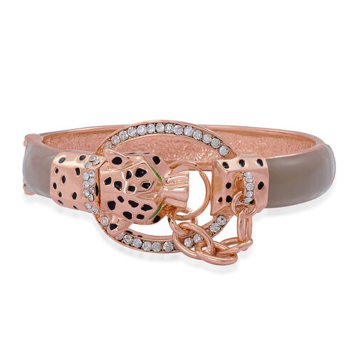 White Austrian Crystal Enameled Leopard Head Bangle (Size 7.5) in Rose Gold Tone