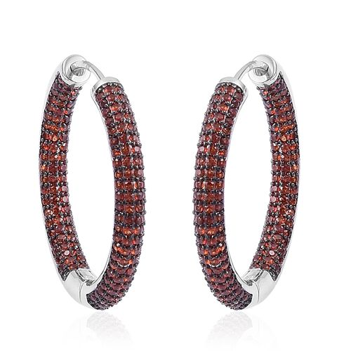 Mozambique Garnet Hoop Earrings in Black Rhodium Plated Sterling Silver 7.500 Ct. Silver wt 9.80 Gms.