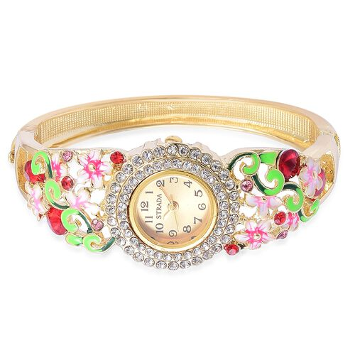 STRADA Japanese Movement Multi Colour Austrian Crystal Red Colour Enameled Floral Design Bangle Watch in Yellow Gold Tone