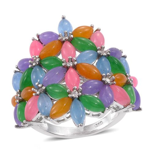 Green, Purple, Blue, Yellow, Pink Jade (Mrq), Natural Cambodian Zircon Floral Ring in Platinum Overlay Sterling Silver 15.250 Ct.