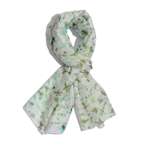100% Mulberry Silk Green and Multi Colour Floral Pattern Pareo (Size 180x100 Cm)