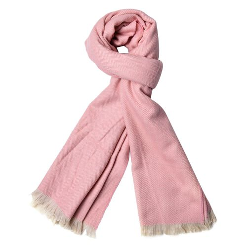 Light Pink Colour Scarf with Fringes (Size 200X80 Cm)